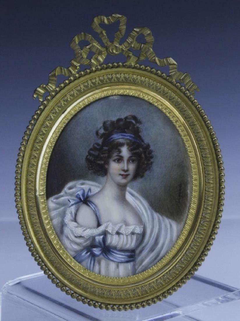 Antique French Court Lady Portrait in Bronze Frame - 4