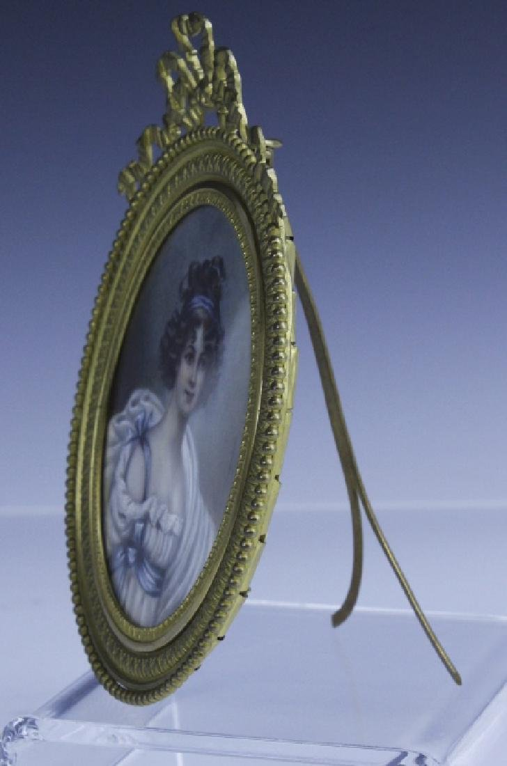 Antique French Court Lady Portrait in Bronze Frame - 6
