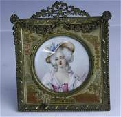 Antique French Mme Elisabeth Portrait Bronze Frame