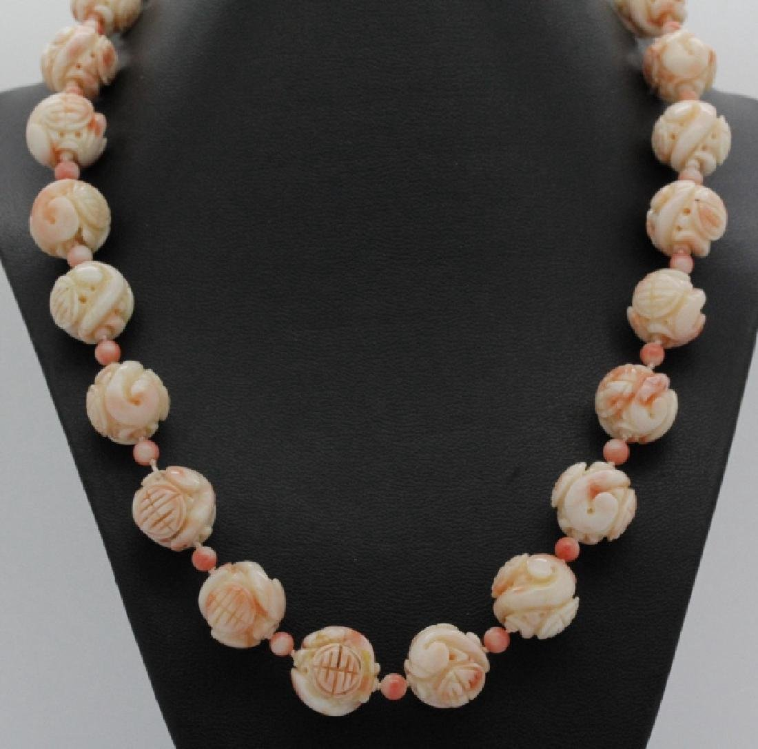 Large Chinese Carved Angel Skin Coral Necklace