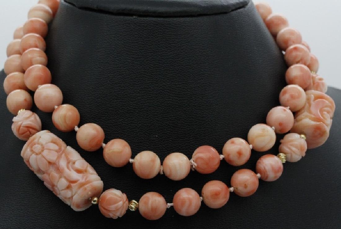 Chinese Hand Carved Pink Angel Skin Coral Necklace