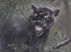 ARTHUR SPENCER ROBERTS Black Leopard Painting
