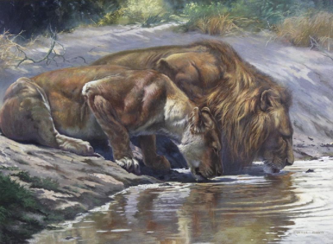 ARTHUR SPENCER ROBERTS Lion Couple Painting
