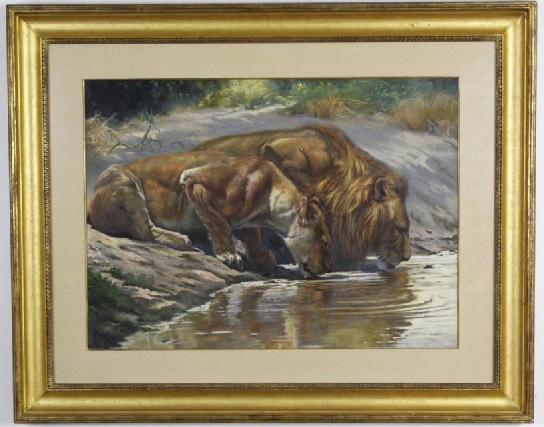 ARTHUR SPENCER ROBERTS Lion Couple Painting - 2