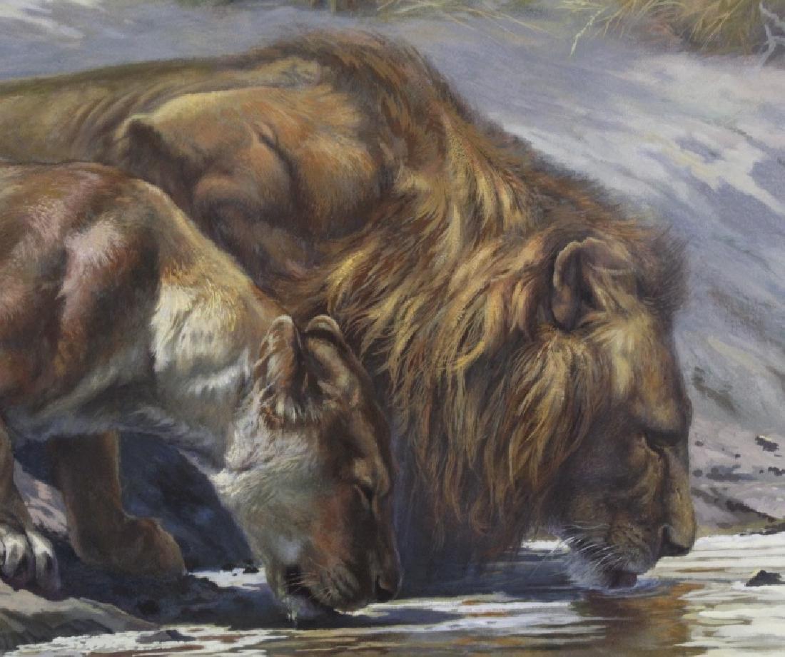 ARTHUR SPENCER ROBERTS Lion Couple Painting - 3
