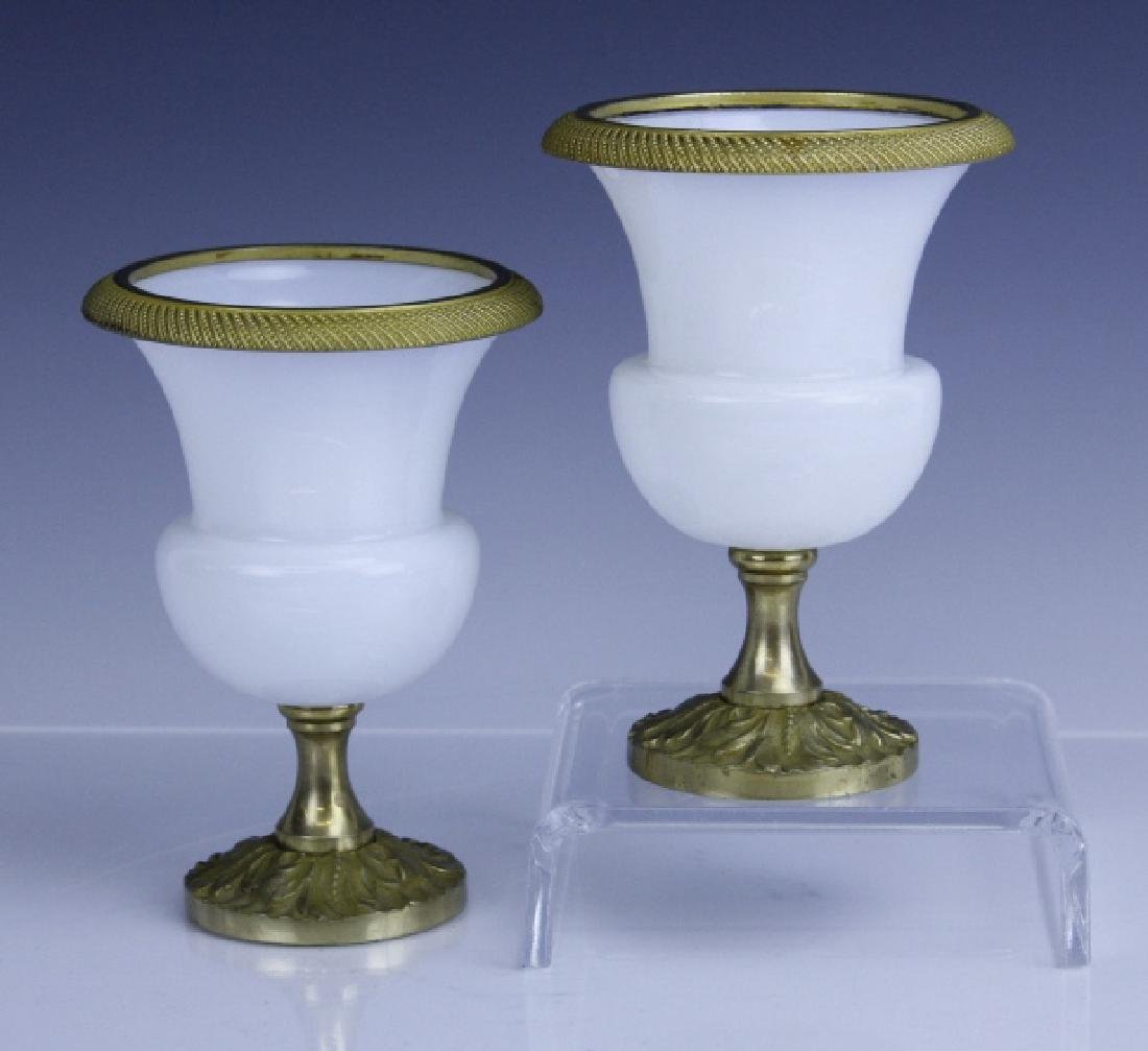 Pair French Opaline Glass Bronze Mounted Vases