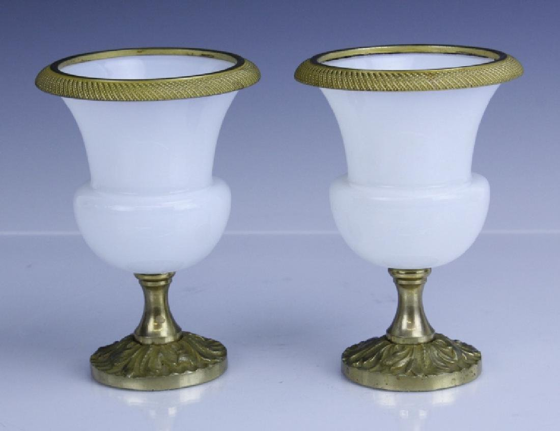 Pair French Opaline Glass Bronze Mounted Vases - 4