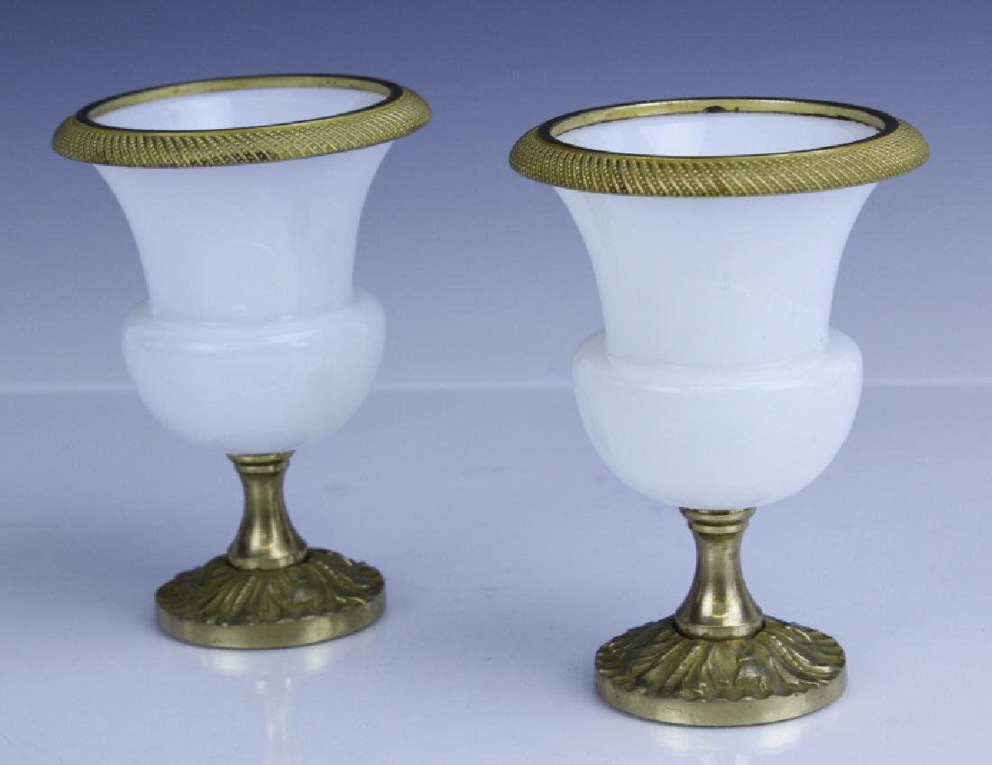 Pair French Opaline Glass Bronze Mounted Vases - 5
