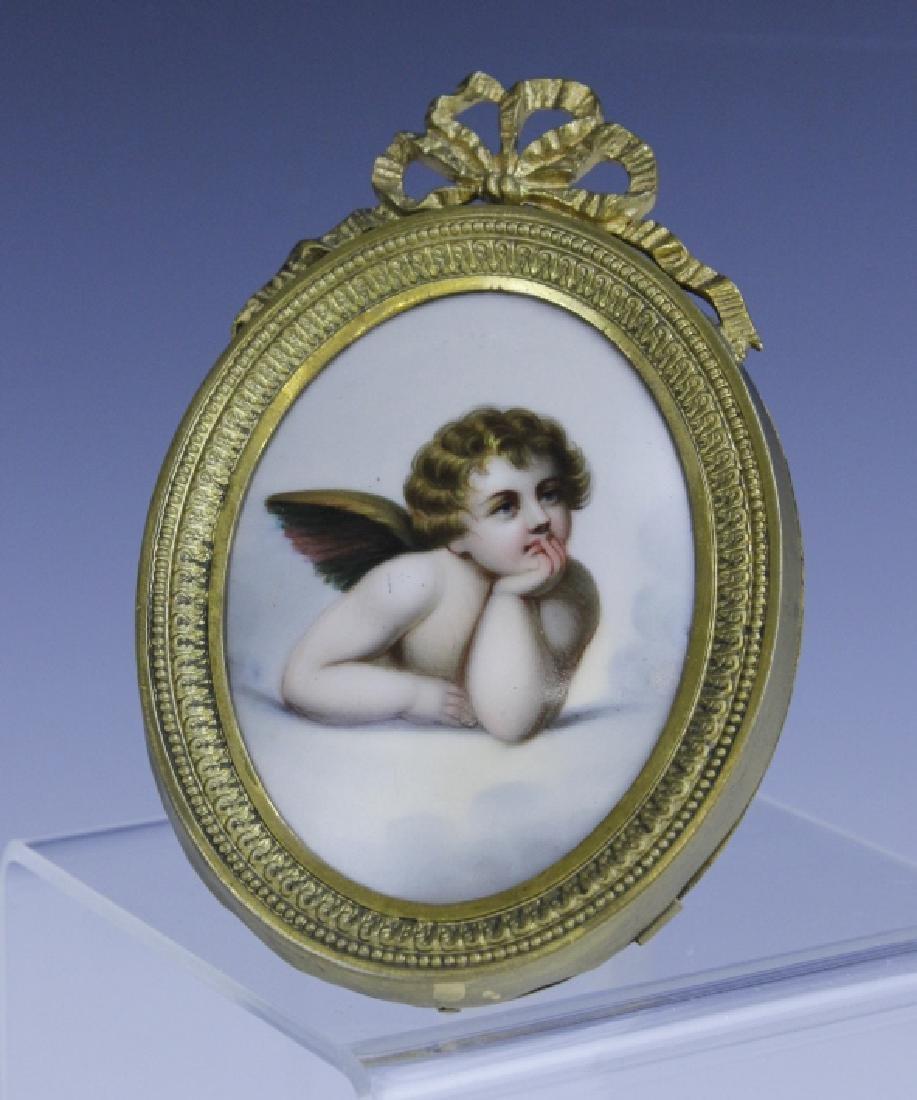 KPM Style Berlin Porcelain Angel Portrait Plaque - 3