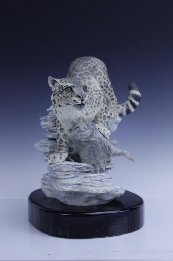 Rare Large BOEHM Snow Leopard Porcelain Figurine - 2