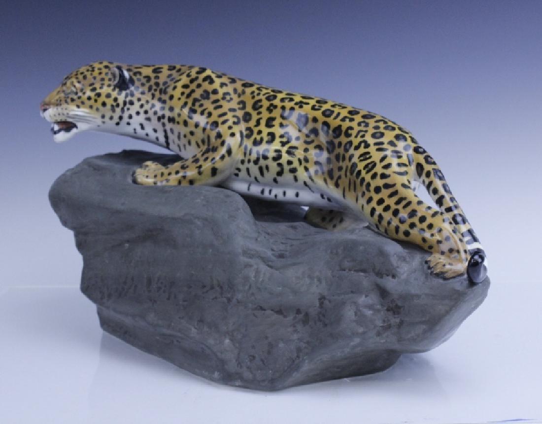 Large Royal Doulton Leopard on Rock Sculpture