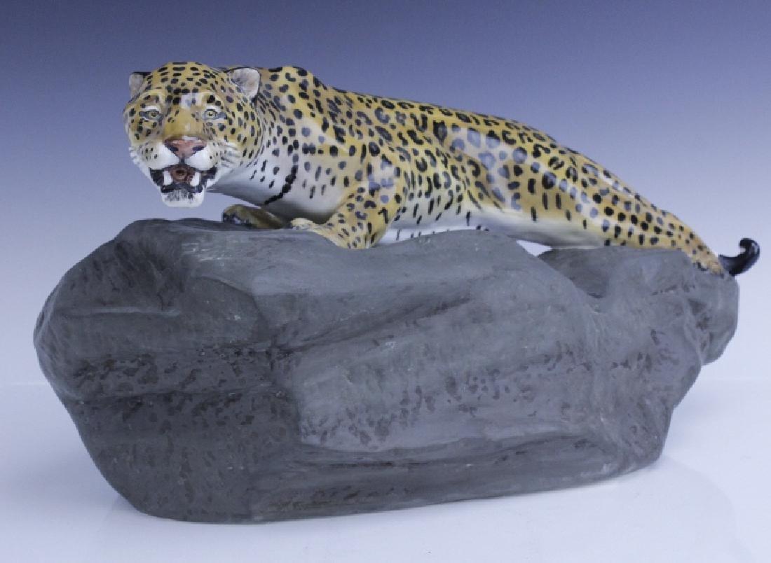 Large Royal Doulton Leopard on Rock Sculpture - 2