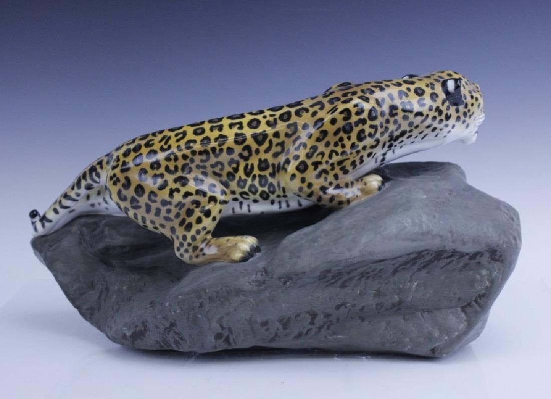 Large Royal Doulton Leopard on Rock Sculpture - 4
