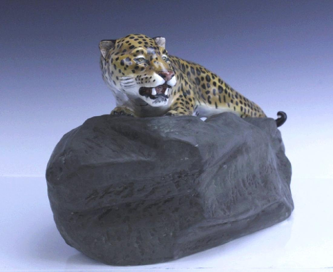 Large Royal Doulton Leopard on Rock Sculpture - 5