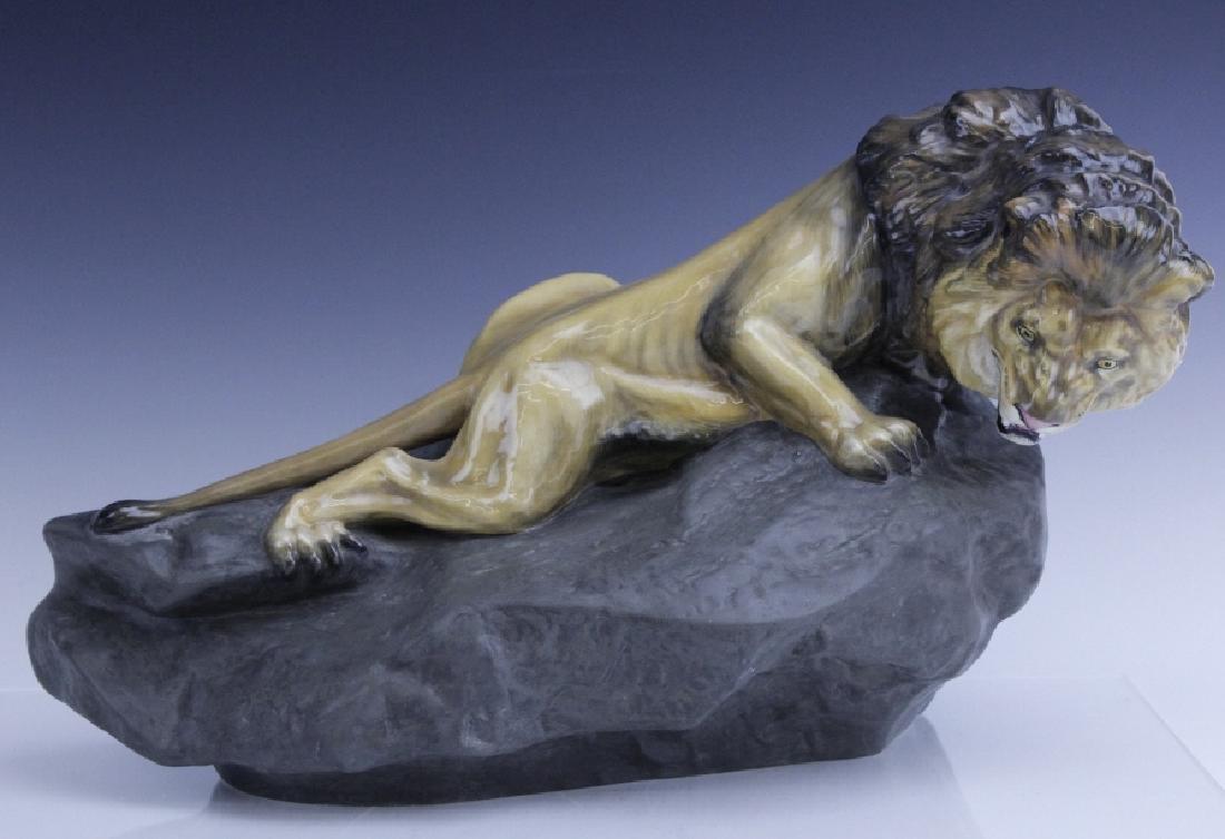 Large Royal Doulton Lion on Rock Sculpture HN2641