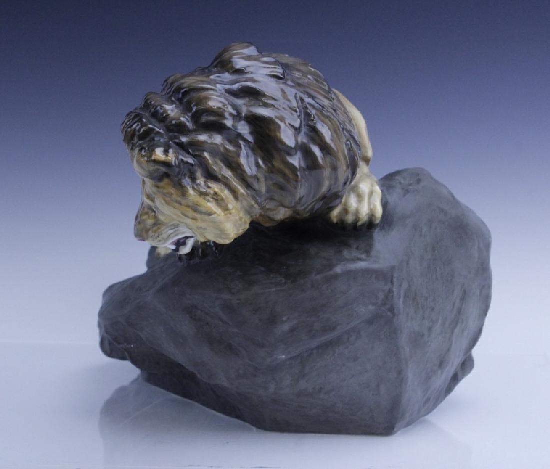 Large Royal Doulton Lion on Rock Sculpture HN2641 - 2