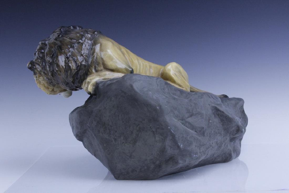 Large Royal Doulton Lion on Rock Sculpture HN2641 - 3