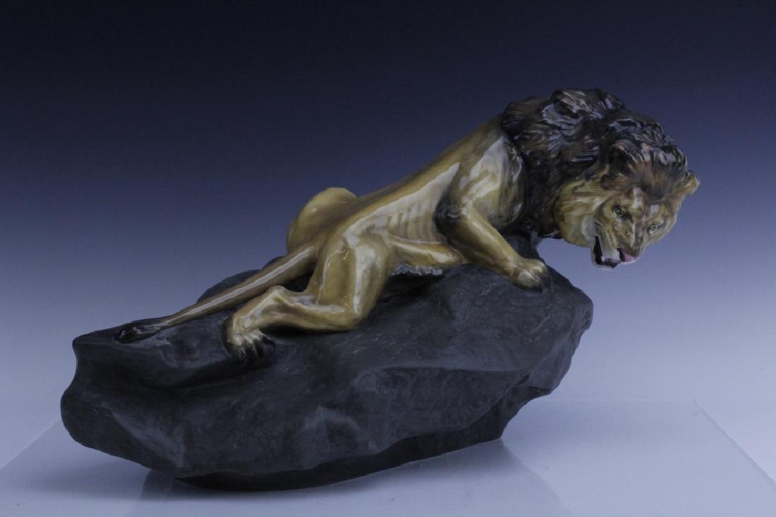 Large Royal Doulton Lion on Rock Sculpture HN2641 - 5