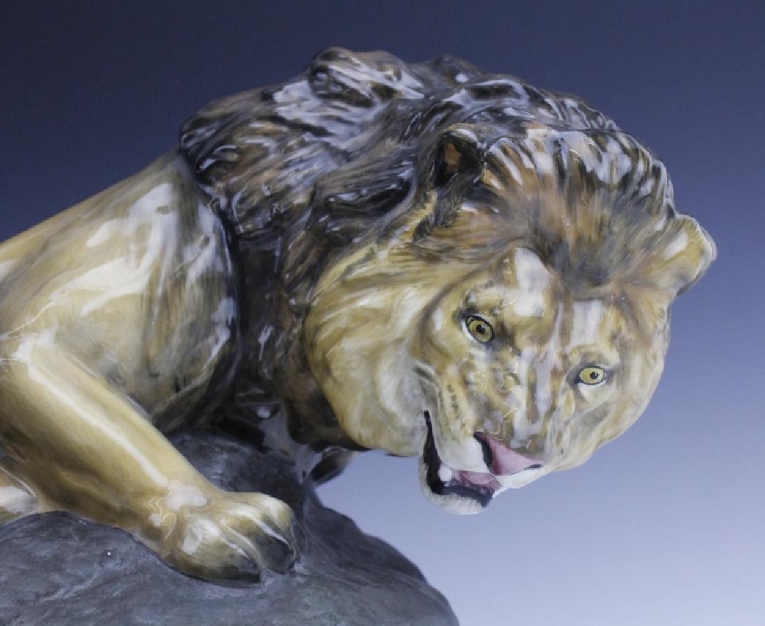 Large Royal Doulton Lion on Rock Sculpture HN2641 - 6