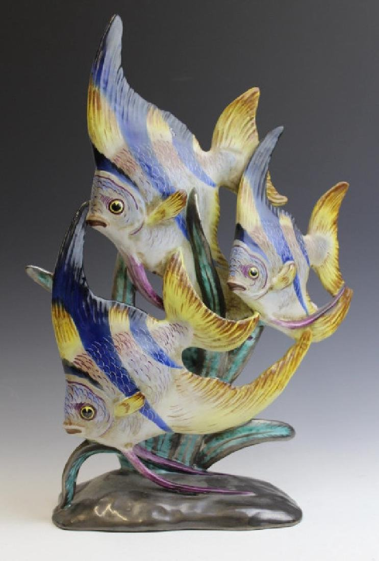Ugo Zaccagnini Angel Fish Italian Pottery Statue