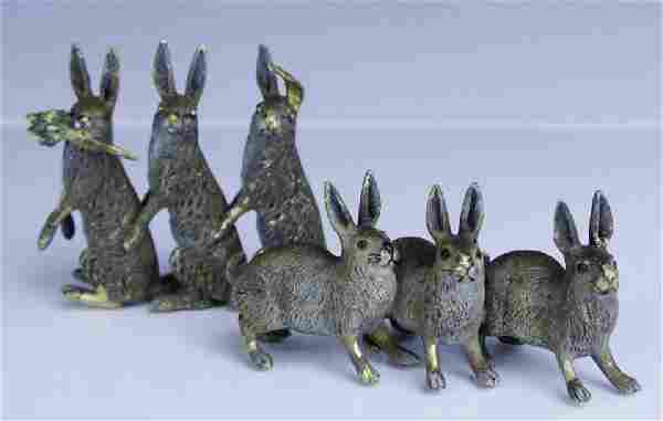 2 Vienna Cold Painted Bronze Rabbit Figurines