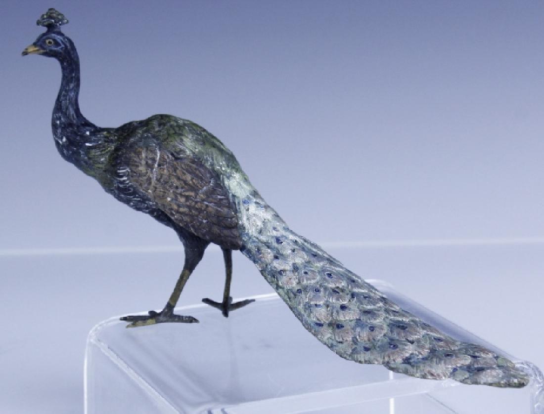 Franz Bergman Vienna Bronze Peacock Figurine - 2