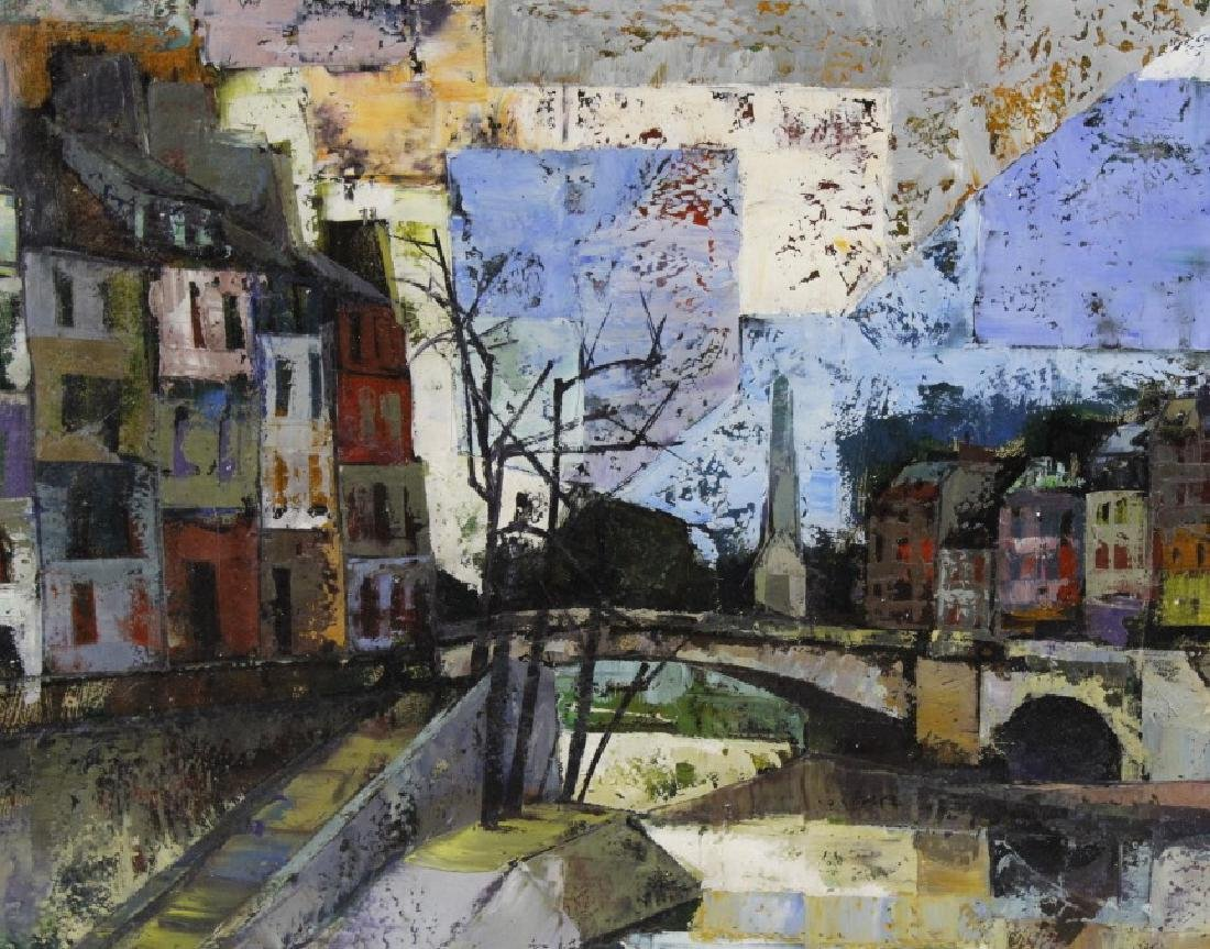 OLIVER FOSS Parisian Canal Scene Oil Painting