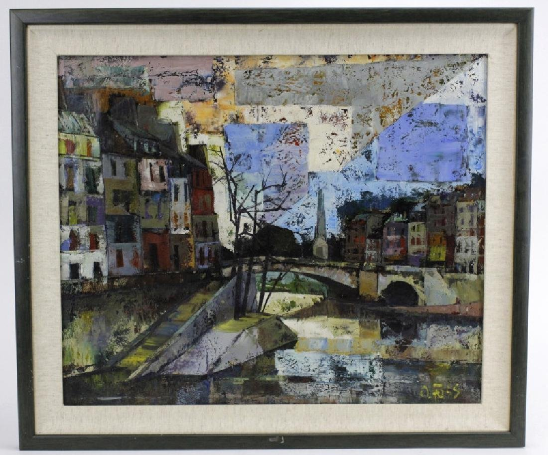 OLIVER FOSS Parisian Canal Scene Oil Painting - 2
