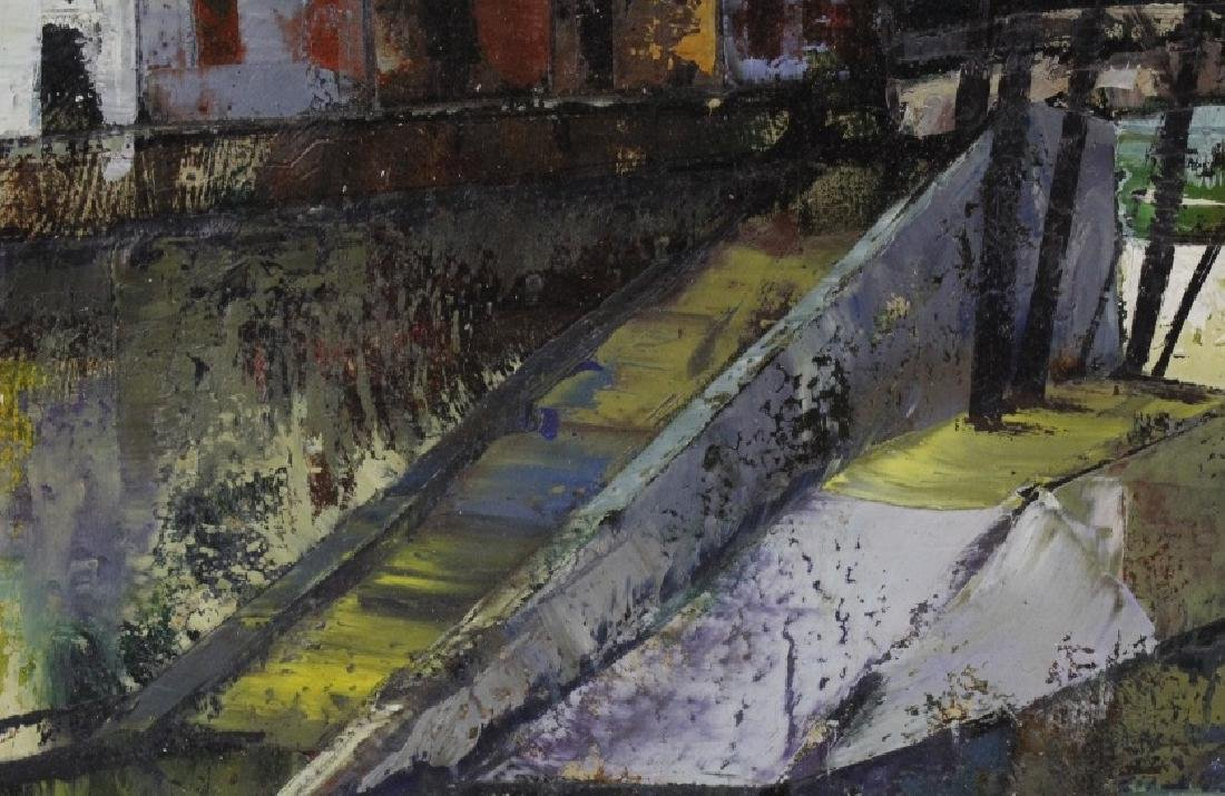 OLIVER FOSS Parisian Canal Scene Oil Painting - 4