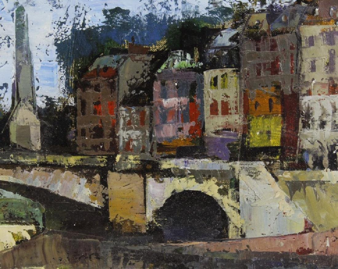 OLIVER FOSS Parisian Canal Scene Oil Painting - 5