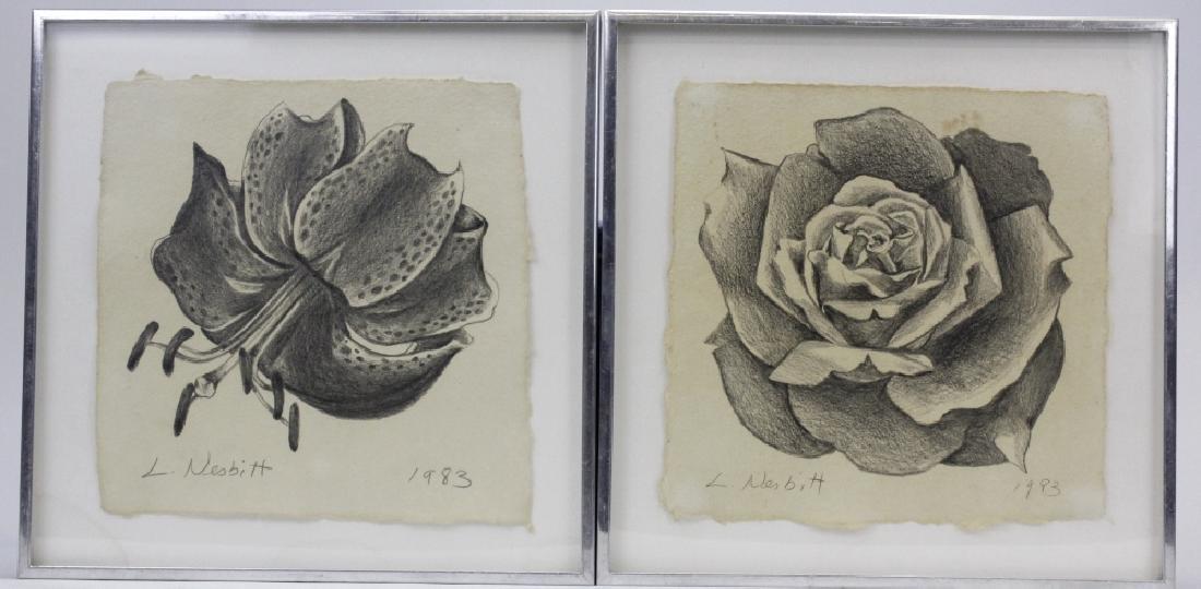 Pair LOWELL NESBITT Rose Floral Pencil Drawings