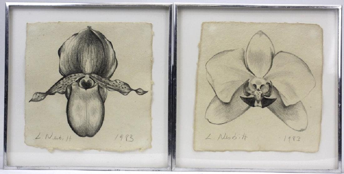 Pair LOWELL NESBITT Orchid Flower Pencil Drawing