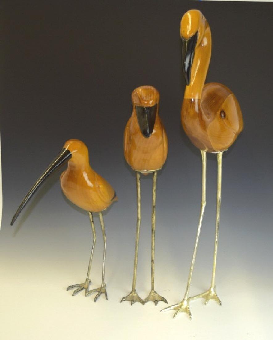 3 De Stijl Italian Carved Wood Bird Sculptures