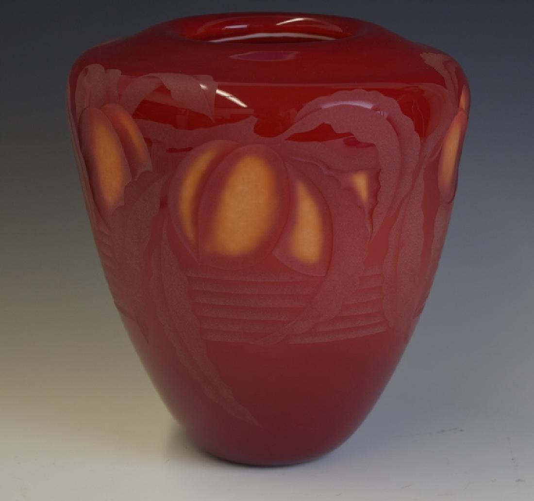 Valerie Surjan Cameo Red Art Glass Peach Tree Vase - 3