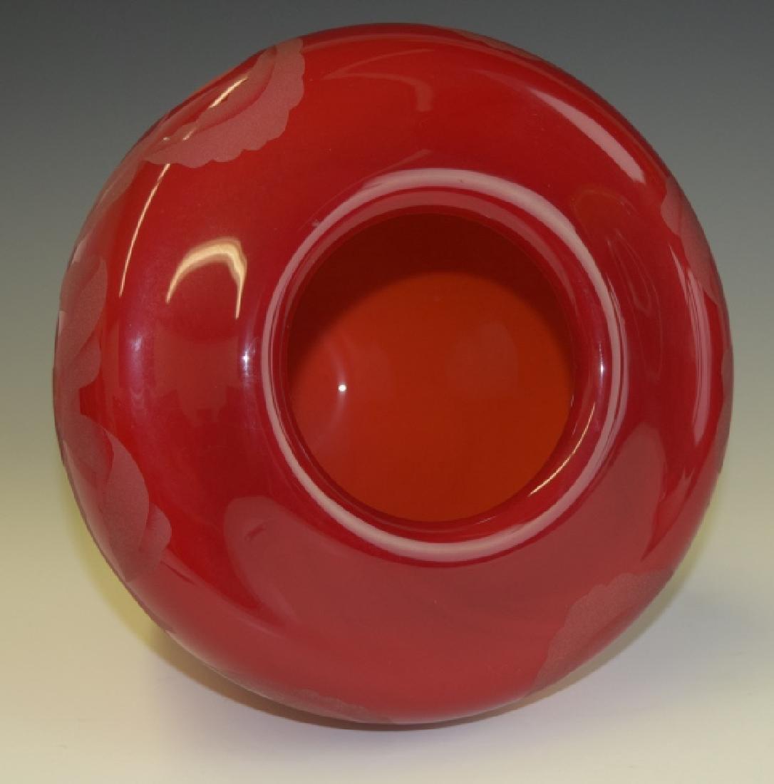 Valerie Surjan Cameo Red Art Glass Peach Tree Vase - 7