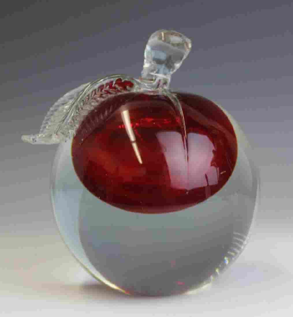 Barbini Murano Art Glass Apple Paper Weight