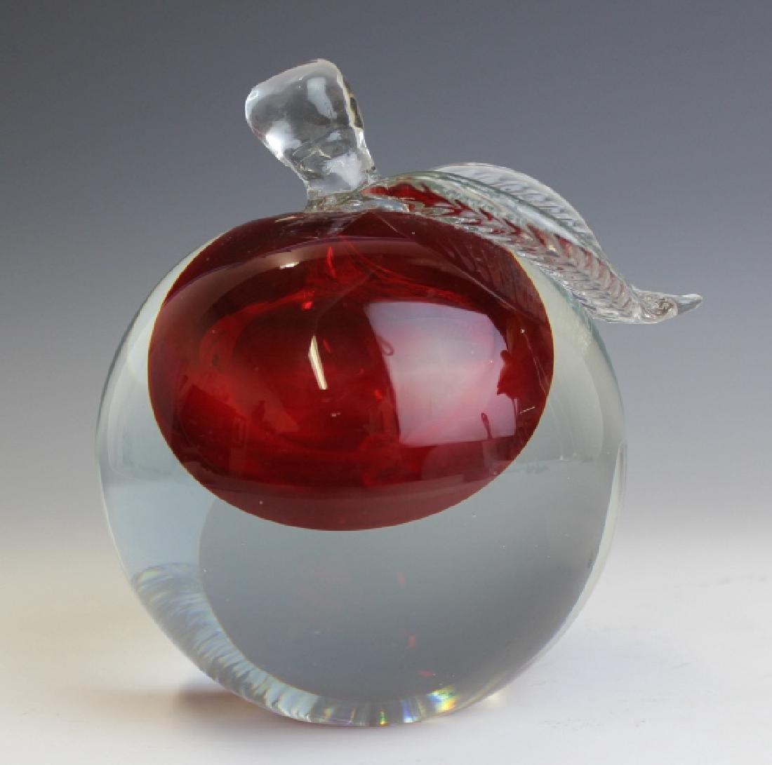 Barbini Murano Art Glass Apple Paper Weight - 3