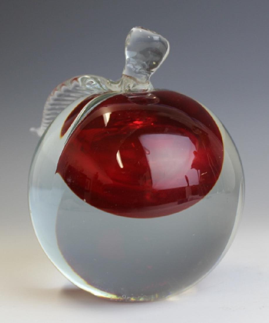 Barbini Murano Art Glass Apple Paper Weight - 7