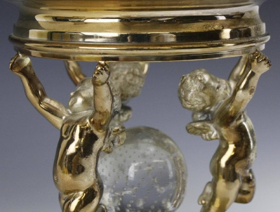 Pairpoint Figural Cherub Cut Glass Garniture Set - 6