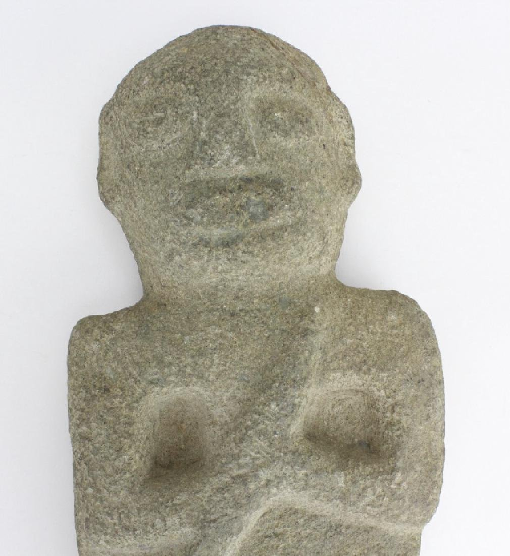 Early Pre Colombian Carved Stone Male God Figure - 3