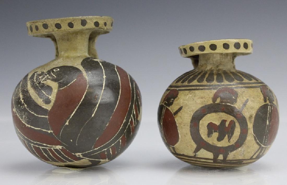 Two Ancient Corinthian Greek Aryballos w Figures