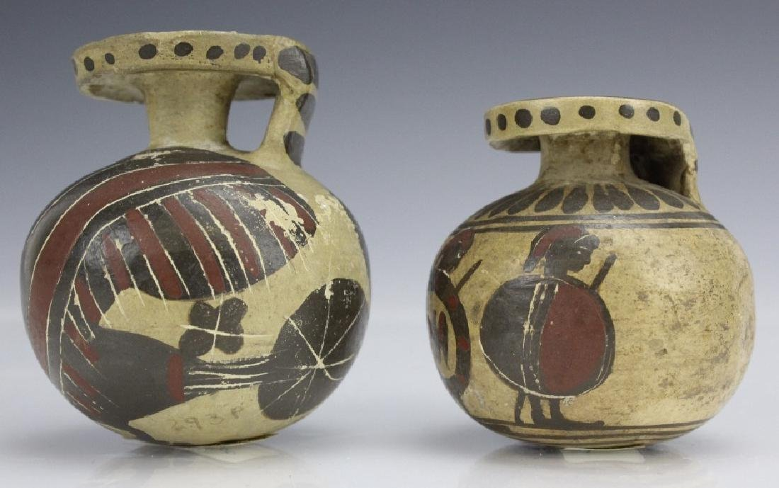 Two Ancient Corinthian Greek Aryballos w Figures - 2