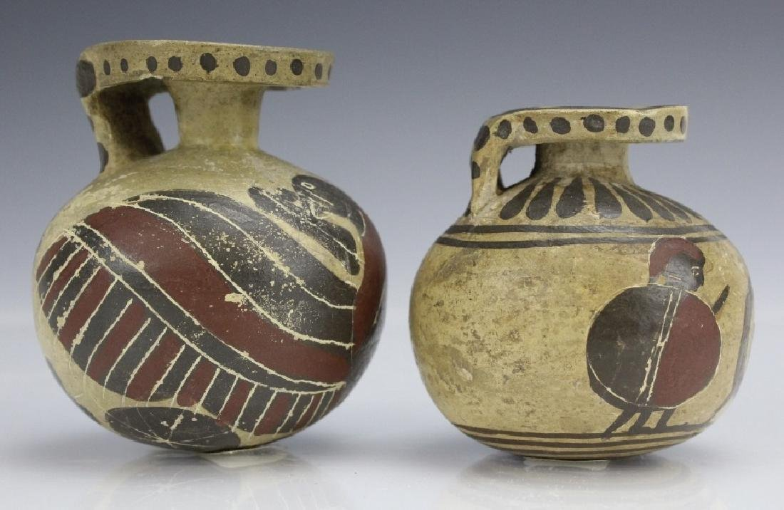 Two Ancient Corinthian Greek Aryballos w Figures - 4
