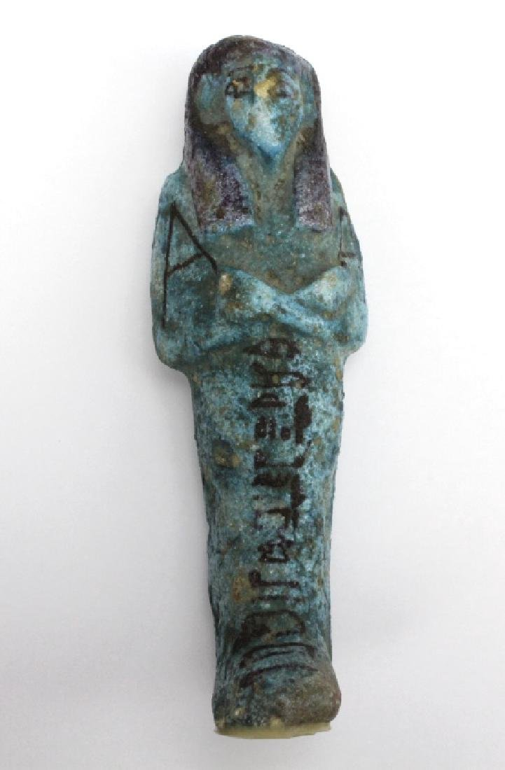 Ancient Egyptian Blue Faience Ushabti Mummy Figure