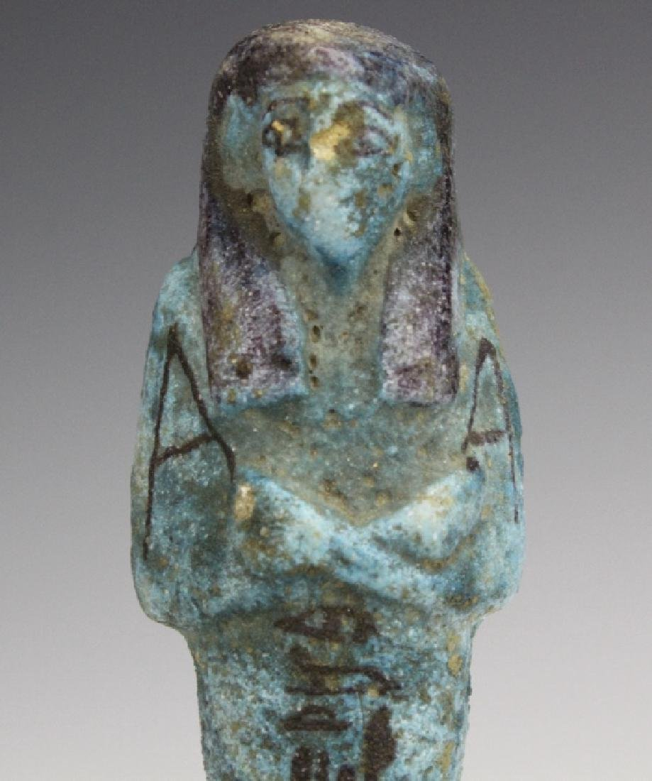 Ancient Egyptian Blue Faience Ushabti Mummy Figure - 2
