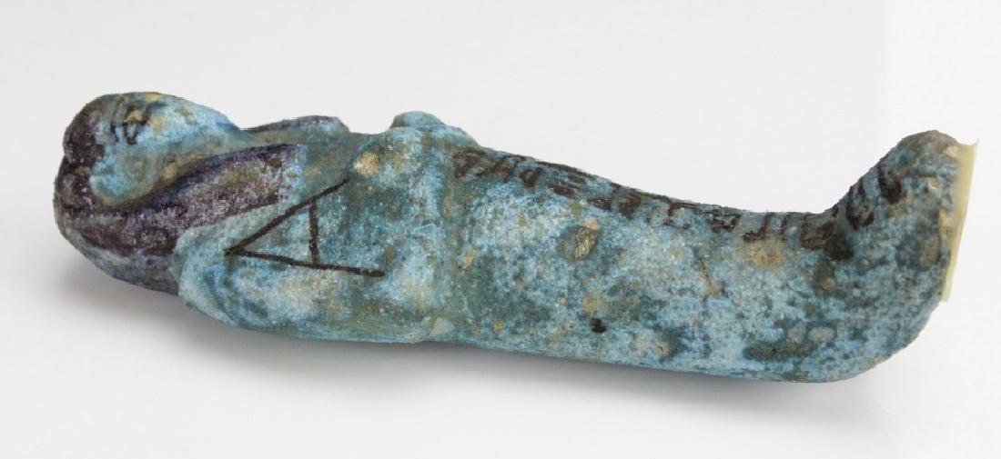 Ancient Egyptian Blue Faience Ushabti Mummy Figure - 5