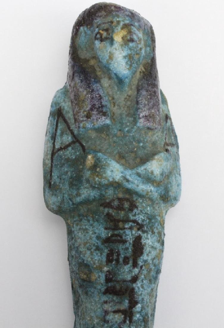 Ancient Egyptian Blue Faience Ushabti Mummy Figure - 7