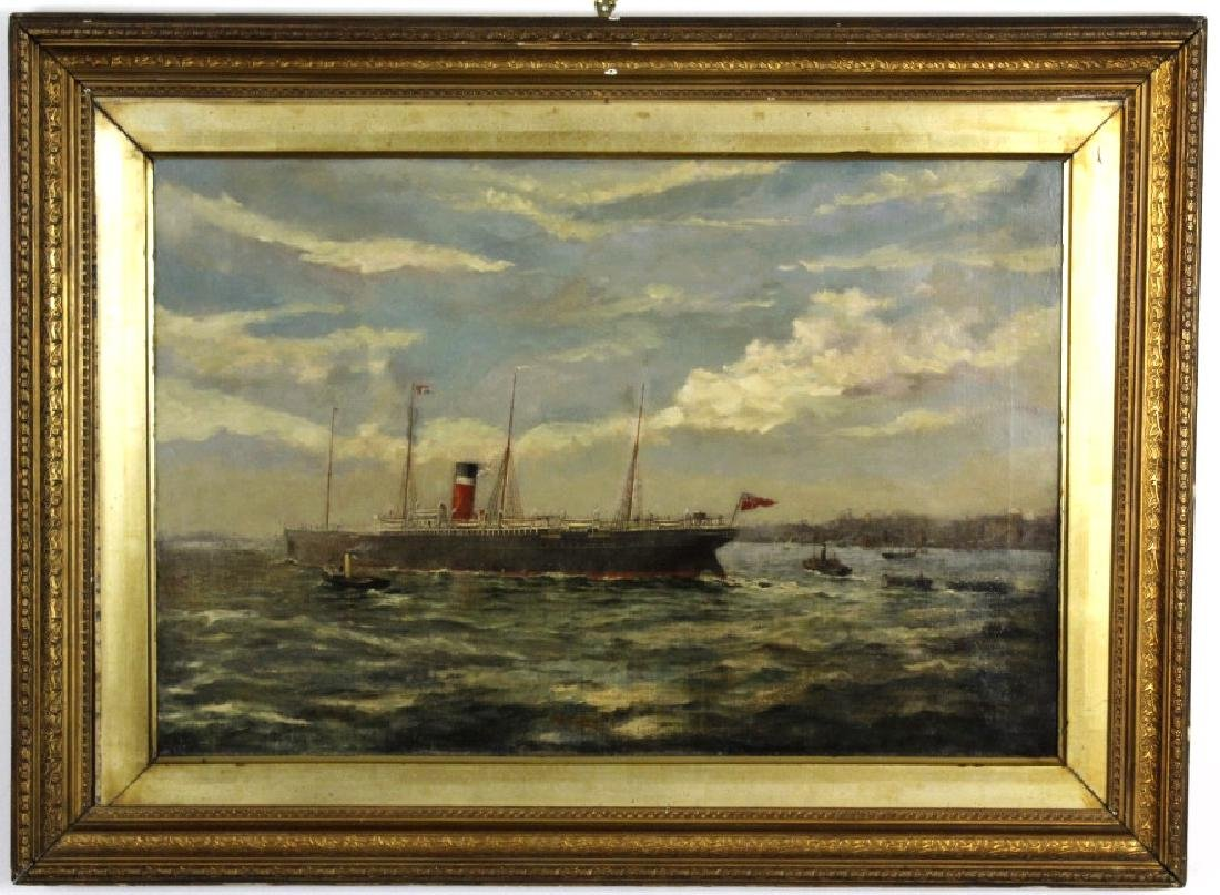 Antique Unsigned Steam Sailor Ship Oil Painting - 2