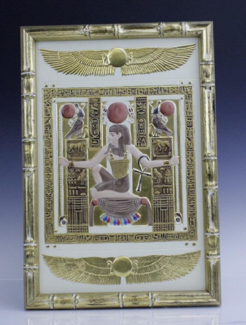 Boehm Gilt Porcelain Egyptian Chair Relief Plaque
