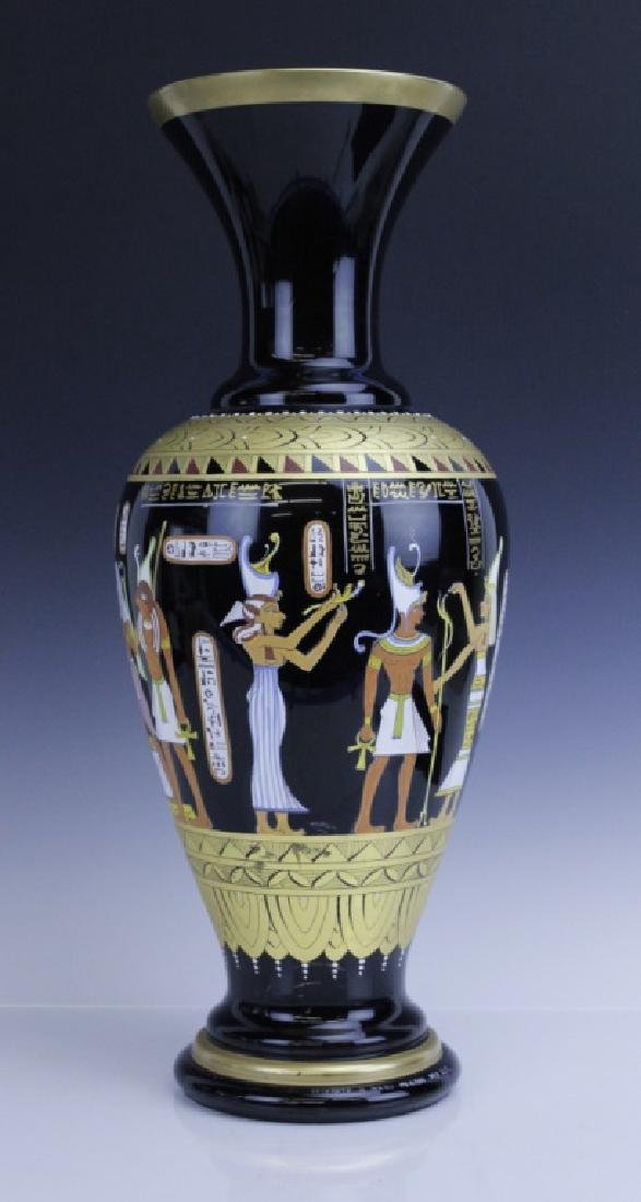 Large MURANO Art Glass Egyptian Tomb Painting Vase